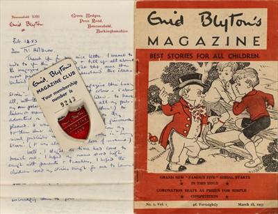 Lot 586 - Blyton (Enid, 1897-1968). Autograph letter signed, 14 February 1953