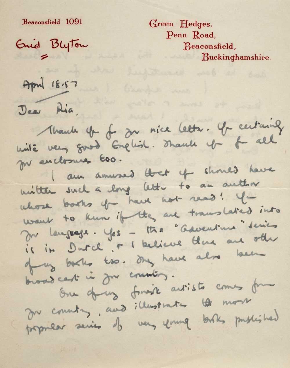 Lot 587 - Blyton (Enid, 1897-1968). Autograph letter signed, 18 April 1957