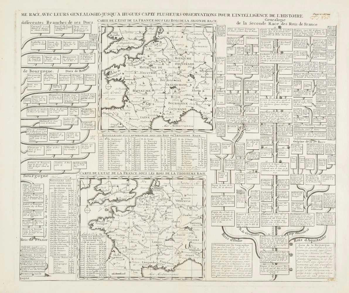Lot 17-Chatelain (Henri Abraham). Twenty dynastic and heraldic charts and maps, circa 1720
