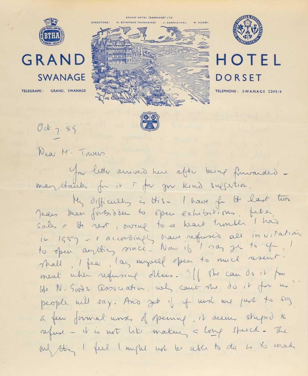 Lot 589 - Blyton (Enid, 1897-1968). Autograph letter signed, 7 October 1959