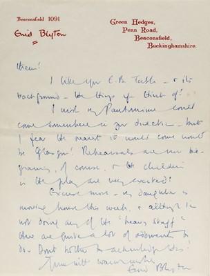 Lot 590 - Blyton (Enid, 1897-1968). Autograph letter signed, 27 November 1959