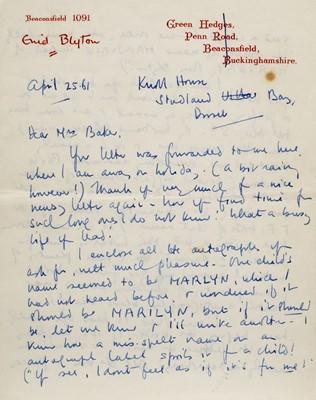 Lot 591 - Blyton (Enid, 1897-1968). Autograph letter signed, 25 April 1961