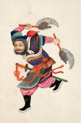 Lot 15-Chinese Export School. Album of warrior pith paintings, Yut Shing, Canton, 19th century