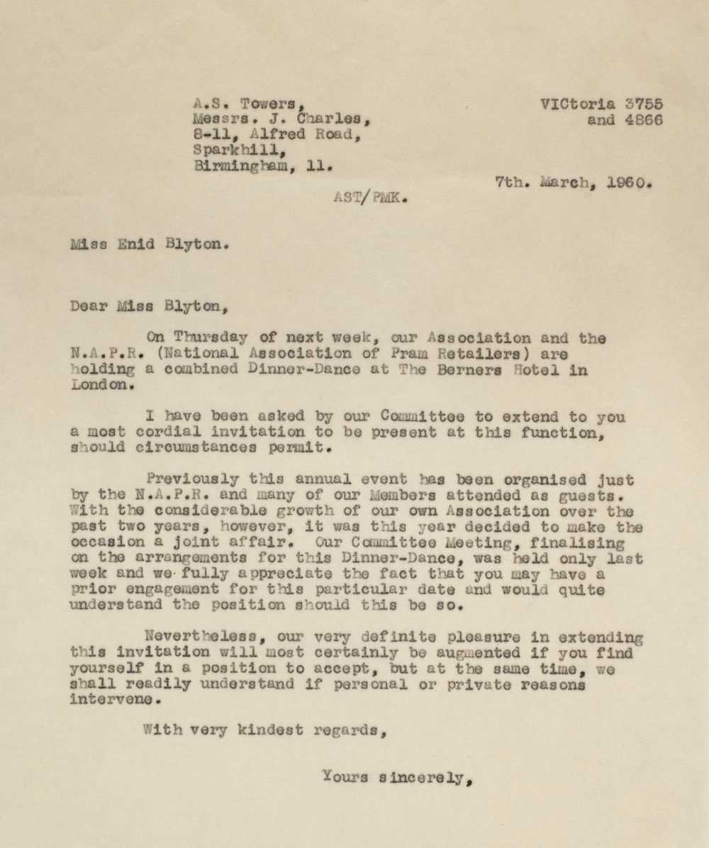 Lot 592 - Blyton (Enid, 1897-1968). A group of 24 carbon copy letters, 1959-62