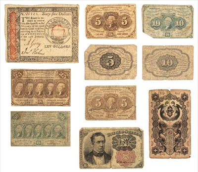 Lot 41-Banknotes. American $65 banknote, 14th January 1779 and others