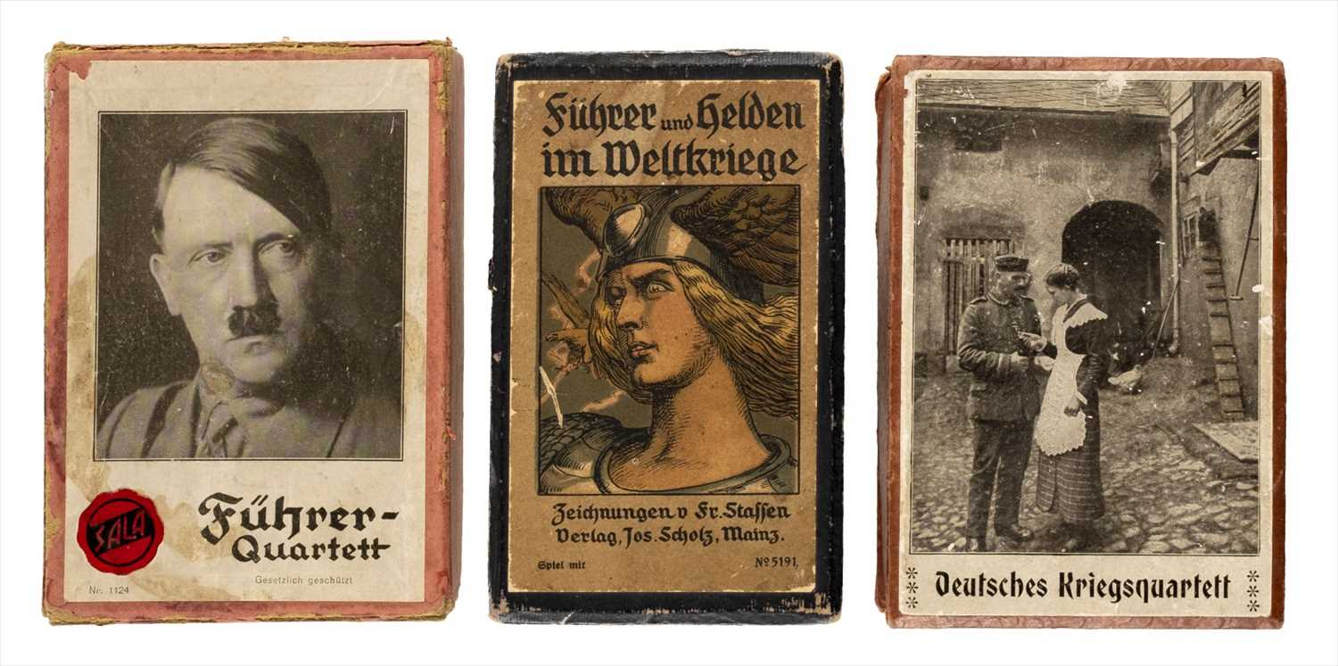 Lot 546-Playing cards. Three scarce decks of WWI and WWII playing cards