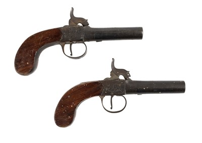 Lot 6-Pistols. A pair of early 19th century percussion travelling pistols
