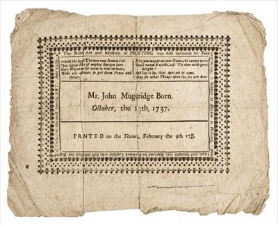 Lot 395 - Frost Fair Broadside. Mr. John Mugeridge Born October, the 12th, 1737
