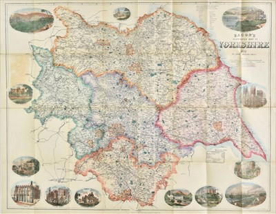 Lot 90 - Yorkshire. Weller (Edward), Bacon's Illustrated Map of Yorkshire, 1875