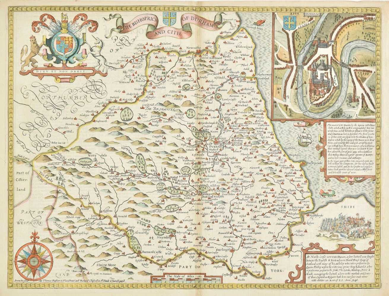 Lot 26-Durham. Speed (John), The Bishoprick and Citie of Durham, 1676