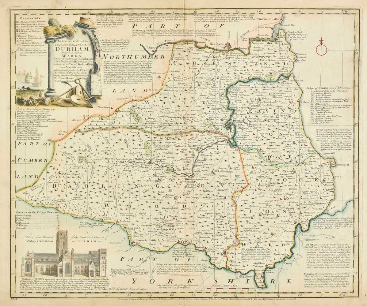 Lot 25-Durham. Bowen (Emanuel), An Accurate Map of  the County Palatine of Durham, circa 1762