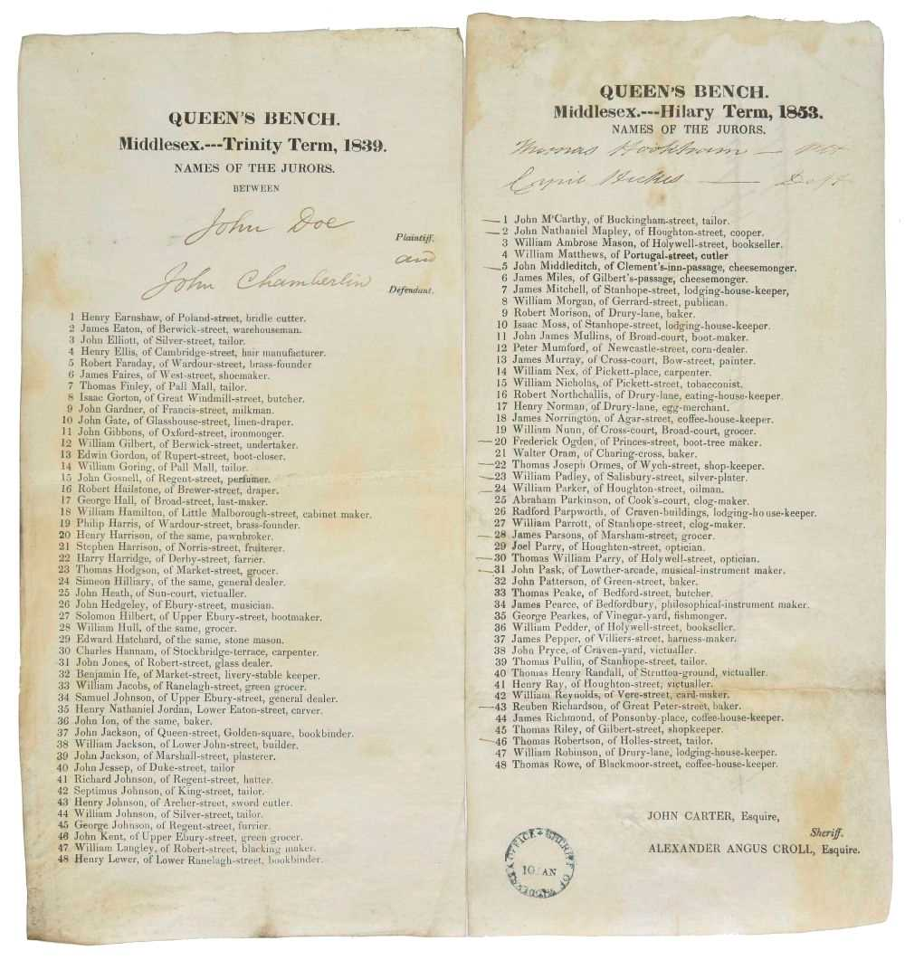 Lot 400 - Jury Lists. A group of 13 lists with names of jurors, 1792/1882