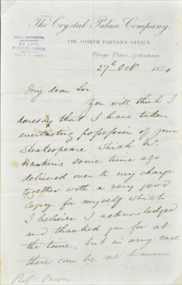 Lot 392 - Crystal Palace. A collection of items including Joseph Paxton signed letters