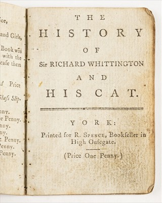 Lot 556-Chapbooks.. The History of Sir Richard Whittington and His Cat, circa 1780s