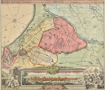 Lot 68 - Poland. Homann (Johann Baptist), Plan of Danzig, circa 1730