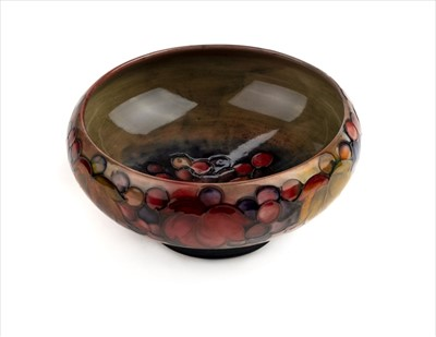 Lot 9-Moorcroft. A Moorcroft pottery 'Grape and Leaf' pattern bowl