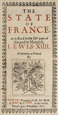 Lot 25 - Evelyn (John). The State of France, 1st edition, 1652, Pirie copy