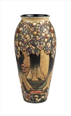 Lot 19-Moorcroft. A Moorcroft pottery 'Knightwood' pattern vase