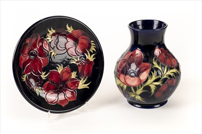 Lot 4-Moorcoft. A Moorcroft pottery 'Amenome' pattern vase plus a dish