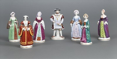 Lot 25-Sitzendorf. Henry VIII and his 6 wives porcelain figures