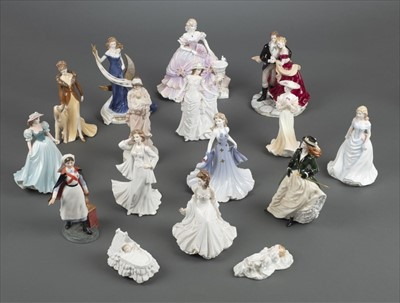 Lot 24-Figurines. A large collection of Royal Doulton and Royal Worcester figurines
