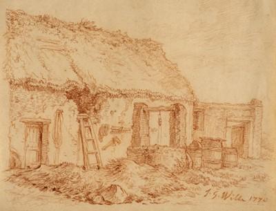 Lot 333 - Wille (Johann Georg, 1715-1808). Farmyard Buildings, red chalk
