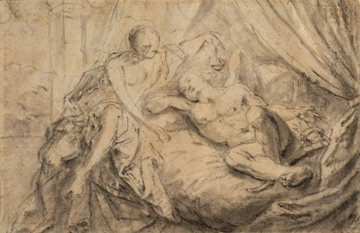 Lot 315 - Errard (Charles, 1606-1689). Young woman watching over a sleeping male figure