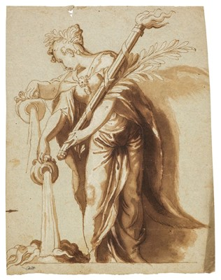 Lot 316 - Farinati (Paolo, 1524-1606). Female deity holding a fire torch and pouring water from a jug