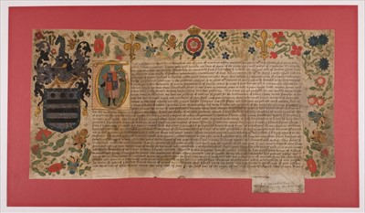 Lot 210-Mary I (Queen of England, 1516-1558). Grant of Arms to John Hombreston, 17 June 1554