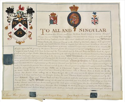 Lot 1-Barbados. Grant of arms to Thomas Yard, 1810