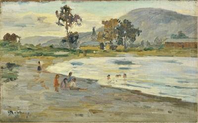 Lot 27-New Zealand. Babbage (Herbert Ivan, 1875-1916). New Zealand landscape with Maori children bathing
