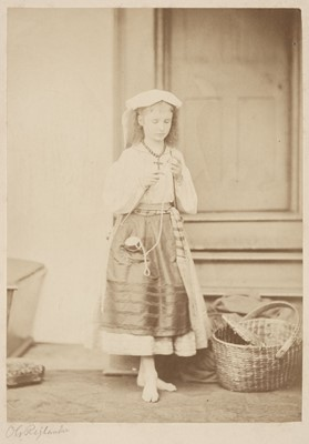 Lot 25-Rejlander (Oscar Gustave, 1813-1875). Study of a young barefoot girl knitting, c. 1860s