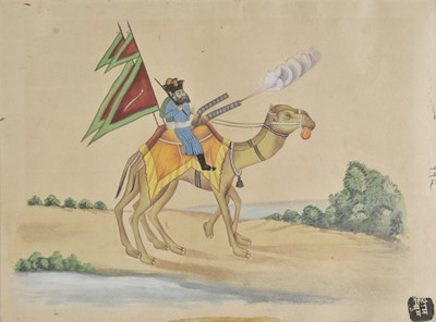 Lot 10 - Company School. Two soldiers, mounted on camelback, with rifles, 19th century