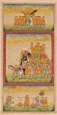 Lot 47-Indian School. Miniature painting in the Mughal style, 20th century