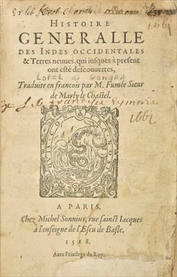 Lot 23-Lopez de Gomara (Francisco). Histoire generalle des Indes occidentales, 1568