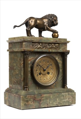 Lot 45-Clock. A French onyx mantel clock circa 1900