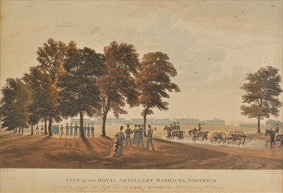 Lot 43-Havell, Robert. View of the Royal Artillery Barracks Woolwich, [1816]