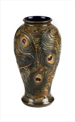 Lot 11-Moorcroft. A Moorcroft pottery 'Peacock' pattern vase