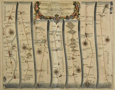 Lot 72 - Ogilby (John). The Road from London to Flamborough Head, com Ebor..., circa, 1698