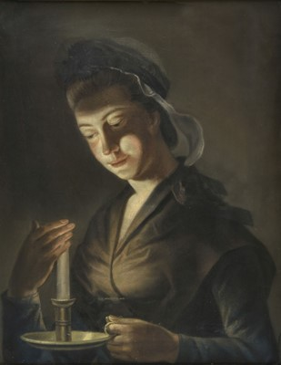 Lot 347-Morland (Henry Robert, 1716-1797). Girl with a Candle, pastel