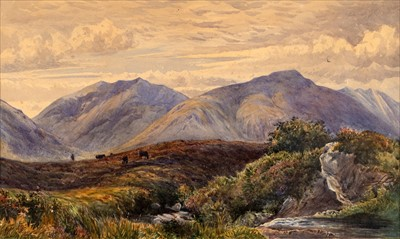 Lot 39-English School. Highland Landscape watercolour, etc