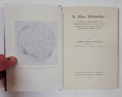 Lot 221-Wallace (Alfred Russel). Is Mars Habitable?, 1st edition, 1907, in the very rare dust jacket