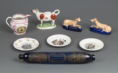 Lot 2-Decorative ceramics. A mixed collection including a cow creamer