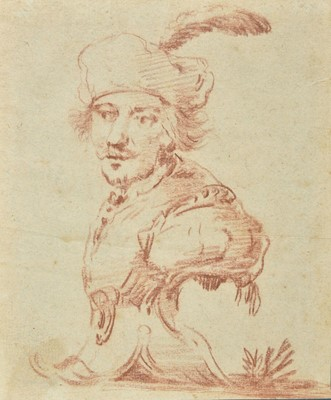 Lot 307 - Attributed to Cornelis Troost (1697-1750). Design for a sculpted bust of a man, and others