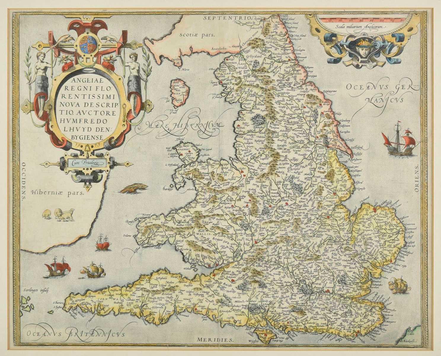 Lot 35-England & Wales. Ortelius (Abraham), Angliae Regni Florentissimi nova descriptio..., 1573