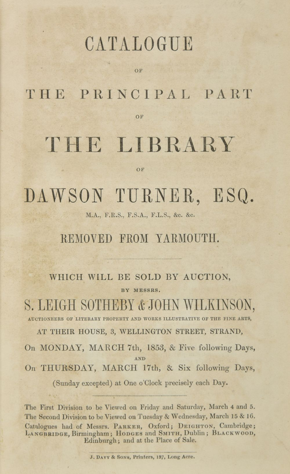 Turner (Dawson). Catalogue of the Principal Part of the Library of Dawson...
