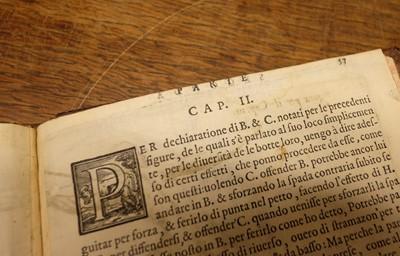 Lot 445-Agrippa (Camillo). Trattato di scienza d' arme : et vn dialogo in detta materia., Venice, 1568