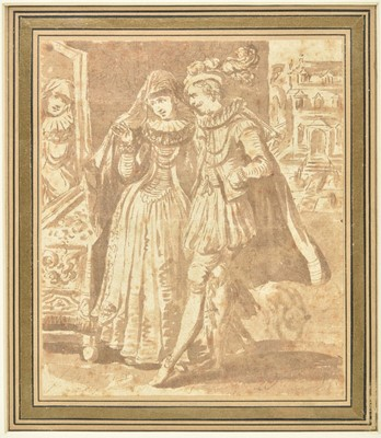 Lot 360-French School. Courting couple, 17th century