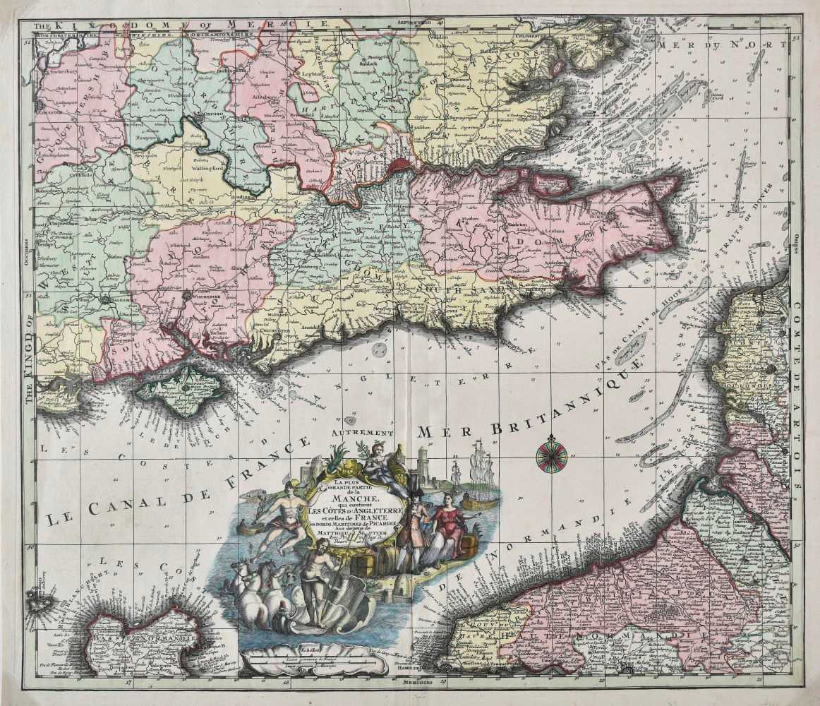 Lot 37-English Channel. Seutter (Matthaus), La plus grande partie de la Manche..., circa 1740