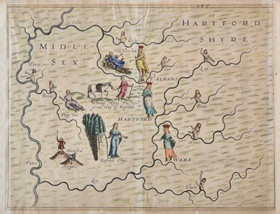 Lot 60 - Middlesex. Drayton (Michael), Untitled allegorical map of Middlesex and Hertfordshire, circa 1612